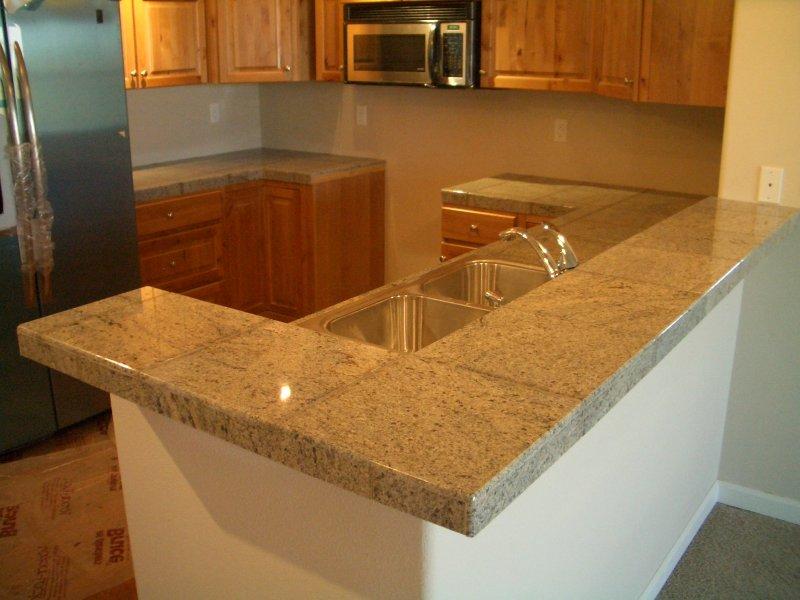 granite tile kitchen countertop and bar
