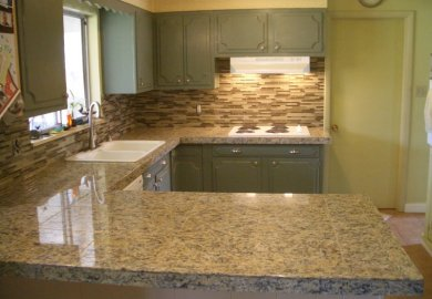 Stacked Glass Tile Backsplash