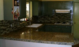 Kitchen Granite Tile Countertop and Glass Backsplash in Fort Collins