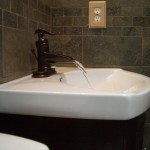porcelain master bathroom with oil-rubbed bronze fixtures