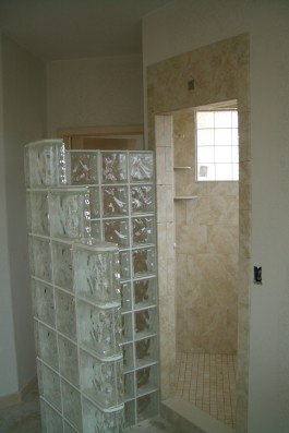 Glass Block Door-less shower installation in Fort Collins