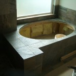 Honed Slate kerdi master bathroom tub deck
