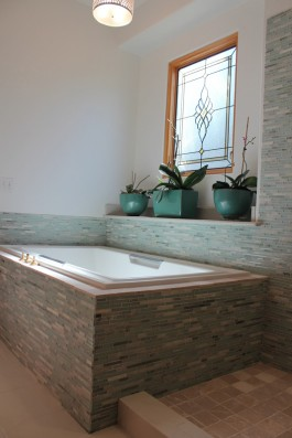 glass marble and porcelain master bathroom