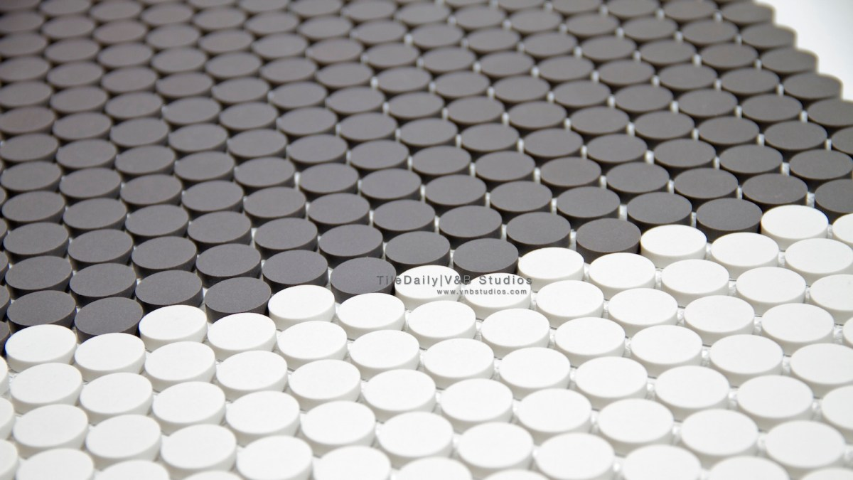 Matte Penny Round Porcelain Mosaic  tiledaily