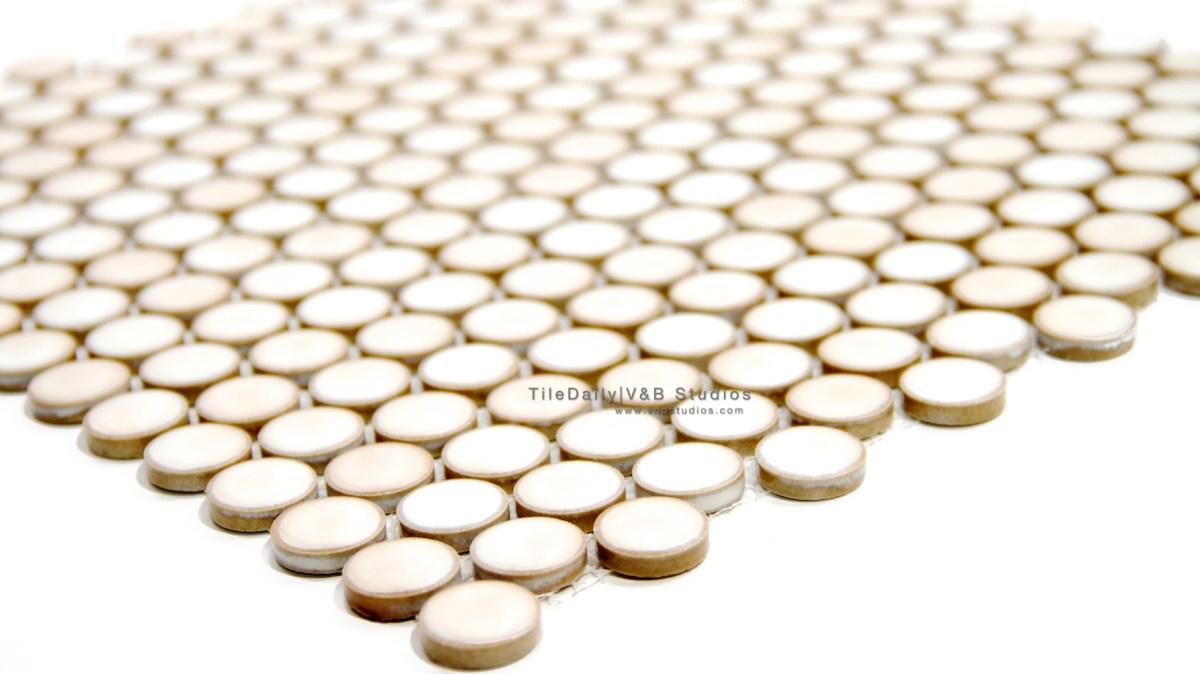 Latte Penny Round Porcelain Mosaic  tiledaily