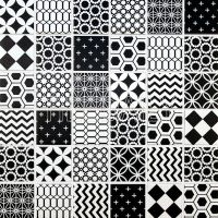Geometric Pattern Mosaic Tile, Black And White  tiledaily