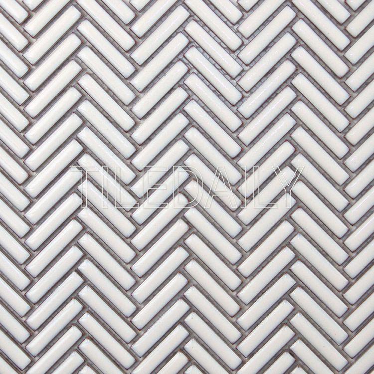 mini herringbone porcelain mosaic
