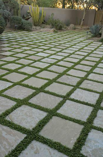 Outdoor Tile with Grass instead of Grout