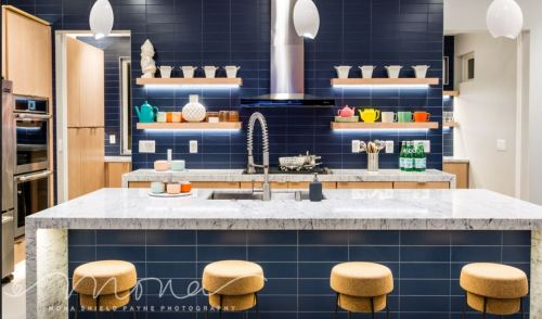 Blue subway tile for the kitchen