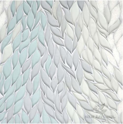 New Ravenna's Cascade, a stone waterjet mosaic, is shown here in Tropical White, Infinity, Island Fog glass, and polished Snow White stone.