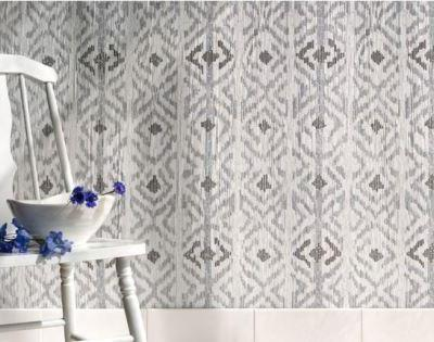 Flagstaff, a hand-cut stone mosaic, shown in hand-chopped tumbled Thassos, Bardiglio, and Cavern.