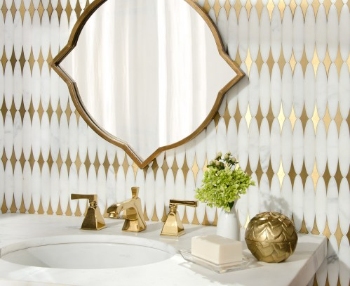 Hudson, a stone waterjet mosaic, shown in venetian honed Calacatta Gold and Brass