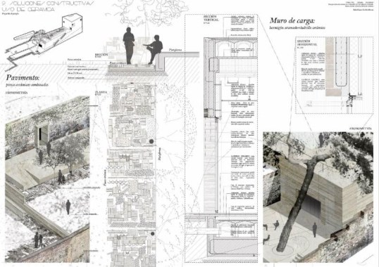 First prize: 'A Landscape Garden: restoration of the area around the Zirí Wall in the El Albaicín district of Granada. A new Residents' Centre and Tourist Information Office' by Rafael López-Toribio Moreno, a student at the Granada School of Architecture.