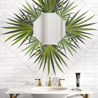 """""""Looking Glass"""" decorative mosaic. Made from Dolomite, Serenity Glass, Brushed Brass Liners, and Mirror"""
