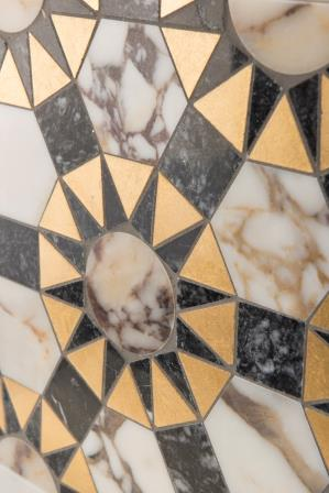 Byzantium combines antique opulence with modern geometry to create a contemporary tile collection. Shown: Gold, Storm Grey and Violetta.