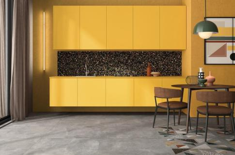 ABK's Blend collection combines the textures of concrete and multi-colored terrazzo.