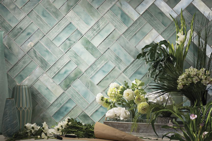 Sonaré Tone and Sonic pattern in Seafoam with blend of Pearl and Silk finish
