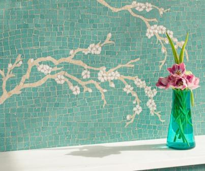 Plum Blossom, a hand-cut stone mosaic shown in honed Lotus Glazed Basalto™ with honed Crema Marfil, Allure, and Thassos.