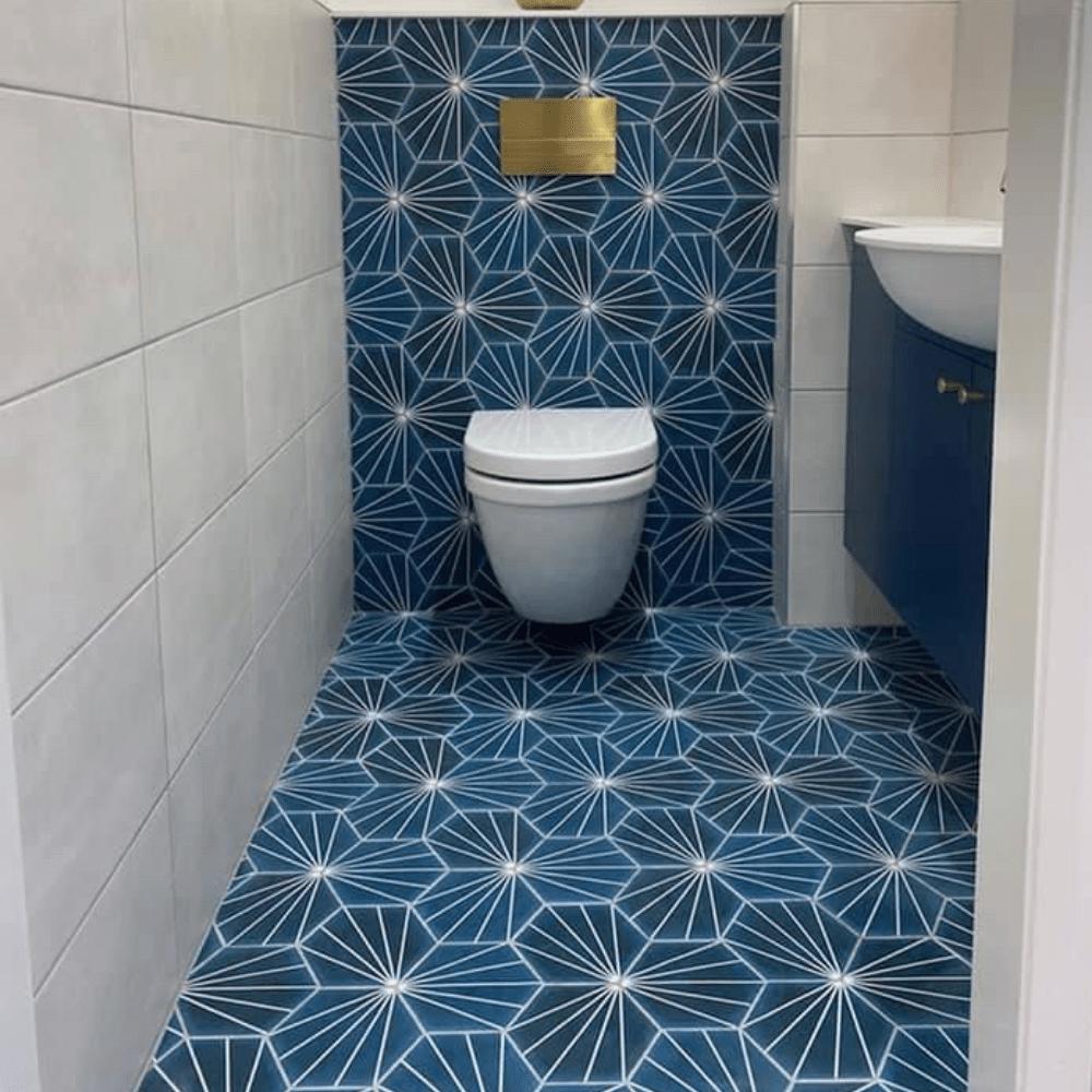 stripes blue hexagon tiles blue