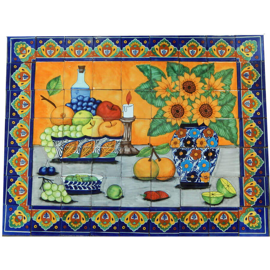 mexican talavera mosaic mural tile handmade still life sunflower backsplash