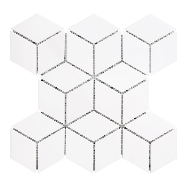 3d mosaic rhombus white tiles stone