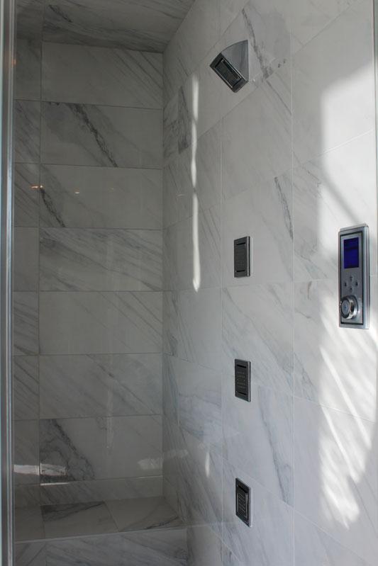Bianco Carrara porcelain tile installed  Tile Stone Source