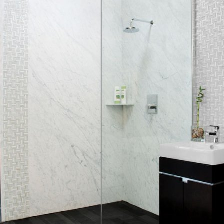 Bianco Carrera Marble installed on shower walls in the Stone Source International Showrrom