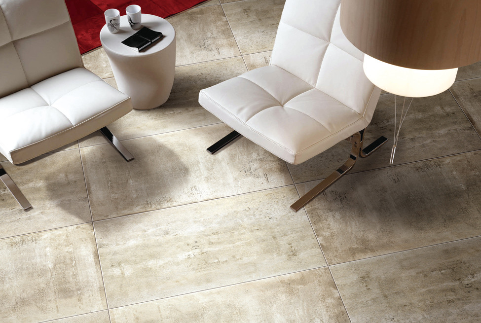Cemento Taupe Porcelain Tile installed on the floor