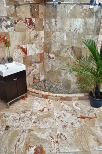 Durango Travertine Shower in Stone Source - Tile Source International Showroom