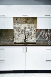 Kitchen back splash installed in the Stone Source - Tile Source International Showroom