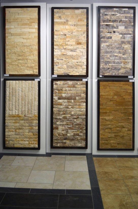 Splitface sample boards in the Stone Source - Tile Source International Showroom