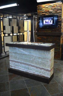 Installed Bolder Panel and sample boards in the Stone Source - Tile Source International Showroom