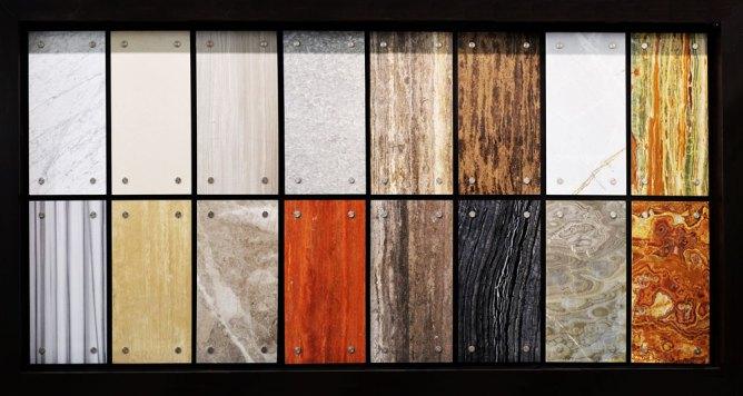 Bolder Panel sample boards installed in the Stone Source - Tile Source International Showroom