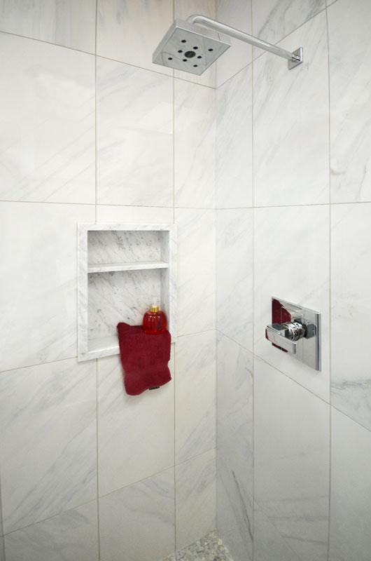 Imitation Marble Bianco Carrara Porcelain Tile installed in a shower