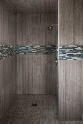 Wooden Grey Veincut marble and Dream Aquarius Mosaic installed in a shower