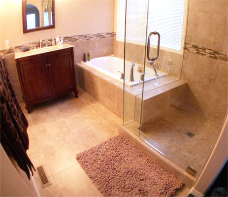Dream Libra Mixed Material Mosaic and Travertine Imitation Beige Porcelain Tile installed in a bathroom