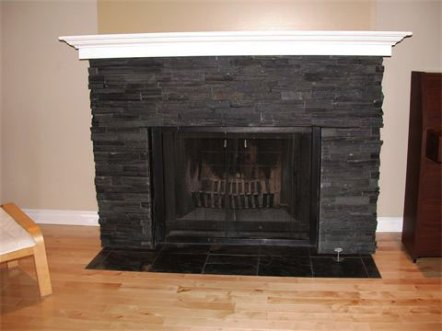 Jet Black Slate Ledgestone and Tile installed on a fireplace
