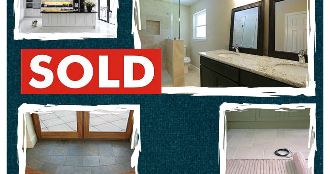 """April 2015 Slice of Style - Renovating for return. Pictures of kitchen, bathroom, entrance, in-floor heat and a """"Sold"""" sign"""
