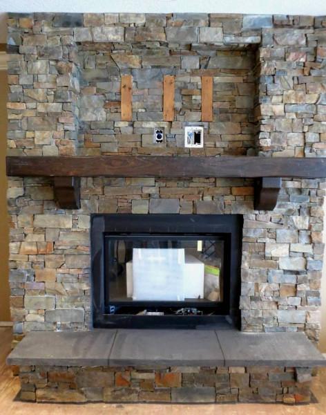 Montana Ledgestone installed on a fireplace surround