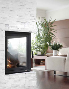 Jeffrey Court Alaska White Quartzite Ledgerstone installed on a fireplace