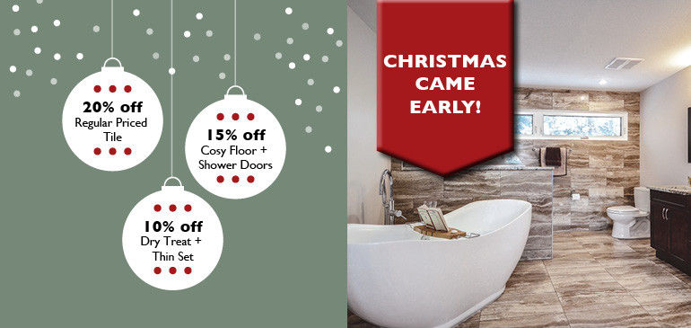 Take 20% off tile, 15% off showers, tubs, in-floor heat, 10% off sealers and thinset