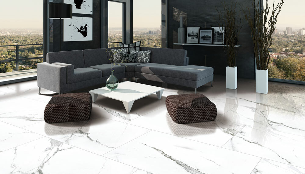 Marble Imitation Statuario installed in a living room