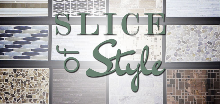 Slice of Style Logo against tile samples in the Tile + Stone Source showroom