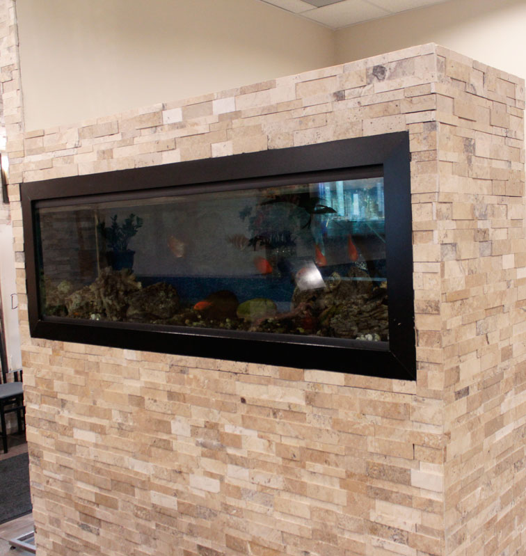 Picasso Cubic Ledgestone installed at a restaurant fireplace