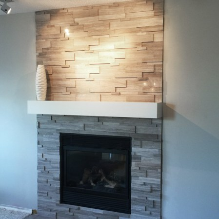 Wooden White Cubic Marble Ledgestone installed on a fireplace