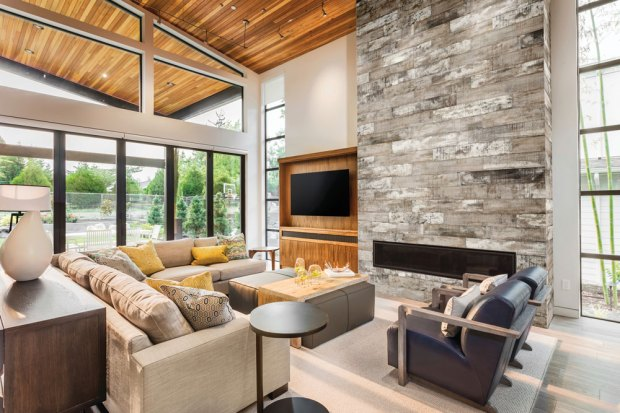 Muskoka Saddel Wood Imitation HD Porcelain Tile installed on a fireplace