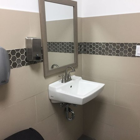 Prima Ivory Porcelain and Stardust Hex Glass mosaic installed in a commercial bathroom