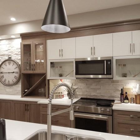 Wooden White Splitface installed as a kitchen backsplash