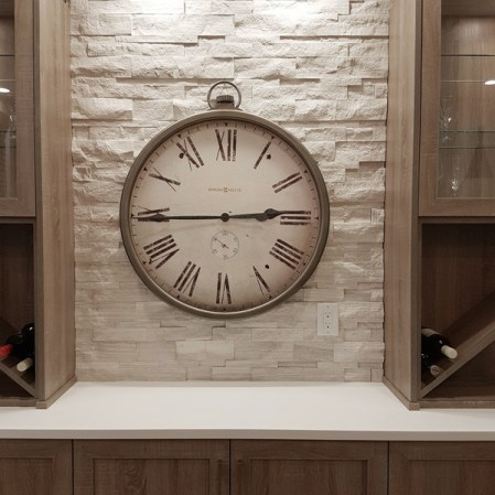 Wooden White Marble Splitface installed as a bar backsplash