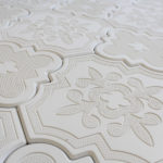 Aster White 8x8 and 10x10 Cement Tiles in a pattern